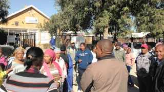 Breipaal community members at the Douglas Magistrate's Court where they handed over a memorandum to the State prosecutor, Modisa Seatlholo. Picture: Norma Wildenboer