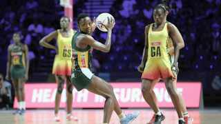 Bongi Msomi, captain of the SPAR Proteas, in action during the Netball World Cup match against Uganda. Photo: Reg Caldecott