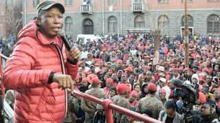 EFF leader Julius Malema addresses a crowd outside the high court in Pretoria. New research has found that EFF leader Julius Malema's favourability is dropping lower than former president Jacob Zuma's upon the latter's exit. File photo: Oupa Mokoena/African News Agency (ANA)