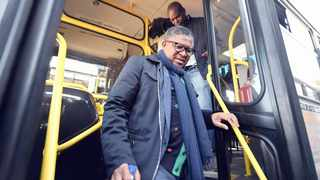 MINISTER of Transport Fikile Mbalula during the presentation of 60 of the 210 buses to service several townships in the city.     Thobile Mathonsi African News Agency (ANA)