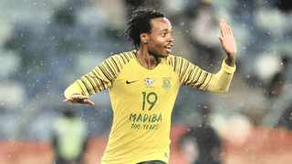 Percy Tau celebrates  a goal during the 2018 Nelson Mandela Challenge match between South Africa and Paraguay at Moses Mabhida Stadium, Durban - November 2018. Photo: Samuel Shivambu/BackpagePix