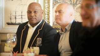 Former Springbok wing Chester Williams with Mark Keohane. Williams was a panellist at a Cape Times Breakfast held at the CPUT Hotel School in Mouille Point on July 31 that showcased the upcoming Rugby World Cup in Japan. Photo: Armand Hough African News Agency (ANA)