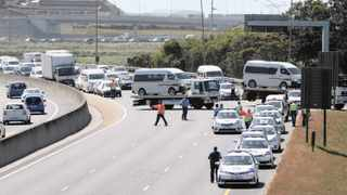 Taxis blocked exit routes from the CBD during peak-hour traffic on Friday. Photo: Henk Kruger / African News Agency (ANA)
