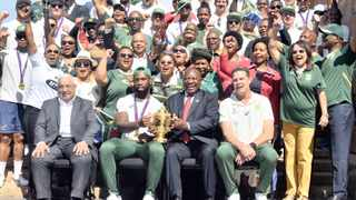 Sa rugby president Mark Alexander, Springbok captain Siya Kolisi, coach Rassie Erasmus, and the World Cup-winning Bok side, present the Webb Ellis Cup to President Cyril Ramaphosa and members of his Cabinet, at the Union Buildings. Picture: Oupa Mokoena  African News Agency (ANA)
