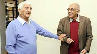 Ahmed Kathrada and Laloo Chiba on a visit to Robben Island some years ago. Picture: Yunus Chamda