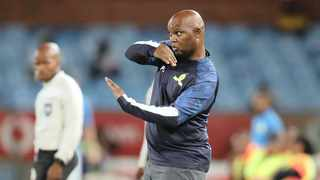 Pitso Mosimane, coach of Mamelodi Sundowns reacts during the Absa Premiership match      BackpagePix