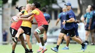 South Africa women's coach Paul Delport (right) looks on during the 2019 Cape Town Sevens training session for South Africa men and women at Bishops High School in Cape Town on 10 December 2019 Photo: Ryan Wilkisky/BackpagePix