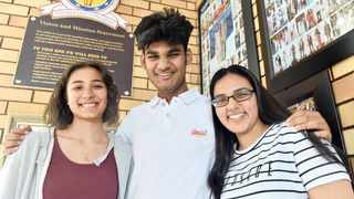 Matriculants from Laudium Secondary School Zareen Moosa, Pranil Dilip Gohel and Kajal Bhoola.     Oupa Mokoena  African News Agency (ANA)