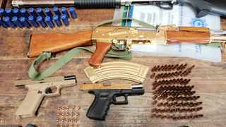 Police seized two pistols, a shotgun, an automatic rifle, five magazines, 10 cellphones, three digital video recorders and 287 rounds of ammunition at the weekend. Picture Supplied / SAPS