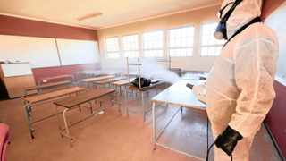 A classroom is sanitised. Calls are now growing for the academic year to be suspended.   Simphiwe Mbokazi African News Agency (ANA)