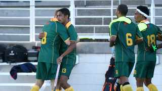 Daayan Cassiem of South Africa celebrates goal with his teammates during the 2017 Cape Town Summer Series II match against Germany at Hartleyvale Stadium. Photo: Chris Ricco/BackpagePix