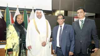 Minister of Small Business Development Lindiwe Zulu (from left), Qatar Minister of Economy and Trade HE Sheik Ahmed bin Jassim bin Mohammed Al-Thani, Dr Iqbal Survé, Sekunjalo chairperson, and South African Ambassador to Qatar, Shirish Soni, at the RSA-State of Qatar Business Forum in Pretoria. Photo: Simphiwe Mbokazi