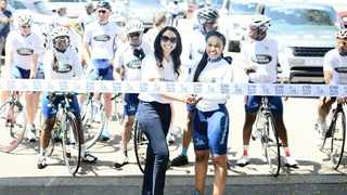 HEAD START: Dr Babalwa Moholwana, left, medical director at Nova Nordisk and Dr Mpho Phalatse, right, MMC for health and social development in the City of Joburg, bid farewell to the cyclists before they embarked on their awareness campaign.