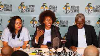 African Democratic Change leaders at the launch of the new political party. Left: Feziwe Ndwayana (spokesperson), Dr Makhosi Khoza (founder and president) and fundraiser Isaac Shongwe. Picture: Simphiwe Mbokazi/ANA