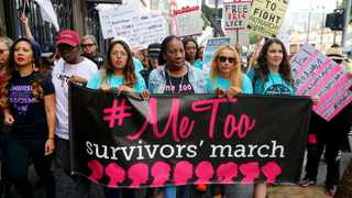 Participants marching against sexual assault and harassment at the #MeToo March in the Hollywood section of Los Angeles last month.  Picture: AP