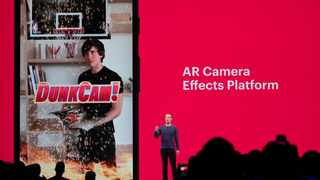 Image: Mark Zuckerberg announces new features such as AR camera effects for Instagram, at the Facebook F8 conference. ( AR world)