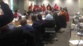 EFF Tshwane councillors stormed into a  meeting hosted by mayor Solly Msimanga, demanding him to remove the chief of staff whose qualifications were put into question. Picture: Rapula Moatshe