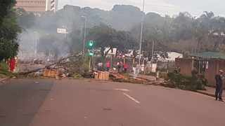Police are monitoring a group of protesters along King Cetshwayo (Jan Smuts) Highway in Cato Manor. Picture supplied