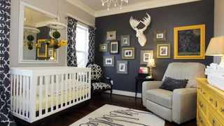 Mineral grey replaces yellow as a cool neutral tone for babies' nurseries. Image: Pinterest