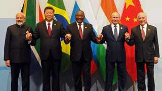 """BRICS leaders pose for a picture on the sidelines of the 10th BRICS Summit which is being held in Johannesburg under the theme """"BRICS in Africa: Collaboration for Inclusive growth and shared prosperity in the Fourth Industrial Revolution"""". Picture: Siyabulela Duda/GCIS"""