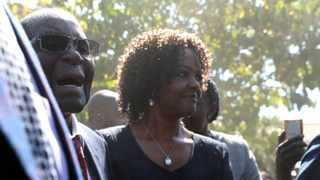 Grace Mugabe accompanies her husband, former Zimbabwean president Robert Mugabe to a polling station to cast his vote. Picture: Mike Hutchings/Reuters