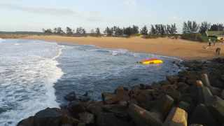 Unconfirmed reports are that staff from the KZN sharks board had died after their boat capsized in Richards Bay. Image from Clint Dreyer from WhatsApp Surf Group.