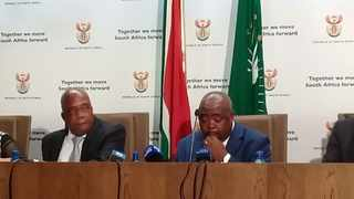 Ministers of Public Works and Health Thulas Nxesi, right, and Dr Aaron Motsoaledi hold media briefing.