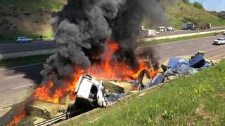 A truck is well alight on the N3 freeway, towards Durban.  Picture and video: Rescue Care