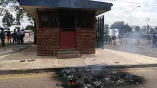 Torched police station. Picture: SAPS/Twitter.