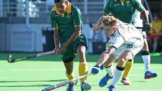 Dayaan Cassiem (left) in action for South Africa. Photo: @SA_Hockey_Men on twitter