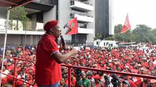 Economic Freedom Fighters leader Julius Malema address the party's followers outside the Tiso Blackstar building in Joburg. Picture: Itumeleng English/African News Agency(ANA)