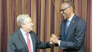 Outgoing AU chairperson and Rwandan President Paul Kagame shakes hands with UN secretary general Antonio Guterres on the sidelines of the African Union summit in Addis Ababa,  Ethiopia. Picture: Supplied