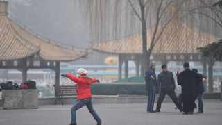 A citizen does morning exercises at the Taoranting Park in Beijing, capital of China. Picture: Xinhua/Li Xin