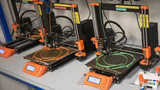 Prusa Research i3 MK3s 3D printers make head straps for protective face shields at Maker Nexus in Sunnyvale, California, on April 1, 2020. MUST CREDIT: Bloomberg photo by David Paul Morris.