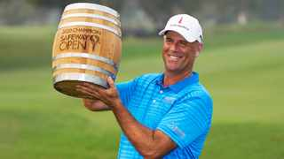 Stewart Cink fired a final-round 65 to finish on 21-under for the tournament to win the Safeway Open. Picture: Eric Risberg/AP