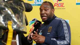Benni McCarthy speaks to the media following the 2018 MTN8 Final match at the Moses Mabhida Stadium. Photo: Muzi Ntombela/BackpagePix