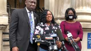 Tamika Palmer, mother of Breonna Taylor, addresses the media in Louisville, Kentucky. File picture: Dylan Lovan/AP