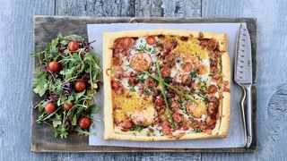 If you are one of the few people who haven't joined the eggs for dinner brigade, this bacon and egg tart is sure to bring you over to our side. Picture: Chris Collingridge