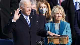 Joe Biden is sworn in as the 46th President of the United States. Picture: Kevin Lamarque/Reuters