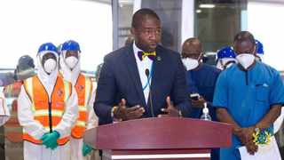 Ghana's Deputy Minister of Health Dr Benard Oko-Boye says that charging travellers US$150 to test for Covid-19 is a bargain compared to contracting the virus and that they are still reasonable compared to countries such as Zimbabwe, China and Togo. Photo: Twitter/ @moigovgh