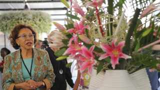 First Lady Dr Tshepo Motsepe visits the Johannesburg International Flower Show on the opening day at Waterfall Park, adjacent to Mall of Africa, Midrand. Picture: Karen Sandison/African News Agency(ANA)