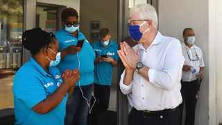 Western Cape Premier Allan Winde and MEC for Health Nomafrench Mbombo during an oversight visit to Stellenbosch Hospital. Mbombo did not take holiday over the festive season.Photographer:Phando Jikelo/African News Agency (ANA)