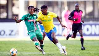 Themba Zwane of Mamelodi Sundowns looks to make a break during their DStv Premiership game against AmaZulu at Kings Park Stadium in Durban on Wednesday. Photo: Steve Haag/BackpagePix