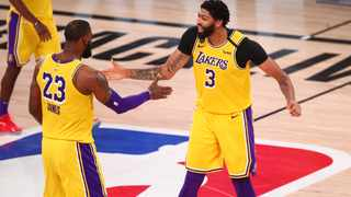 Los Angeles Lakers forwards Anthony Davis and LeBron James celebrate a basket during their NBA game against the Houston Rockets. Picture: Kim Klement/USA TODAY Sports via Reuters