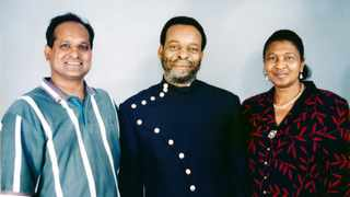Media strategist Marlan Padayachee, with King Goodwill Zwelithini ka Bhekuzulu and Queen Mantfombi. Picture: Supplied