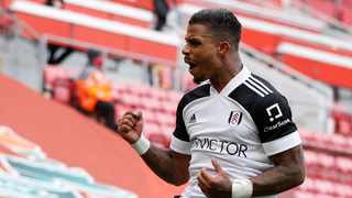 Fulham's Mario Lemina celebrates after scoring their first goal in their Premier League game against Liverpool at Anfield in Liverpool on Sunday. Photo: Phil Noble/Reuters