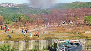 Cape Town 150406. TR section residents in Khayelitsha has invaded land that is near the Nolungile station. Picture Cindy Waxa.Reporter Nabeelah/Argus