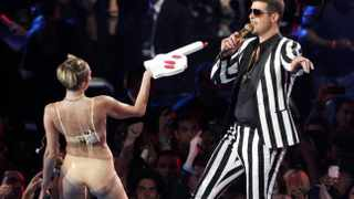 Miley Cyrus and Robin Thicke perform 'Blurred Lines' during the 2013 MTV Video Music Awards in New York. Picture: Reuters