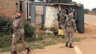 Members of the SANDF patrol the streets of Majasana, near Ennerdale. The soldiers are supporting the police to enforce compliance with national lockdown regulations. Pictures: Itumeleng English African News Agency (ANA)
