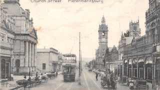 Church Street, Pietermaritzburg, looking north-east with the City Hall in the background.